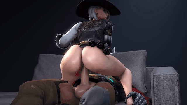 gut punch anime gif – ashe riding mccree